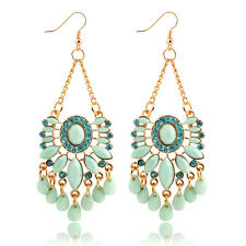 NiX 1456 High Quality Retro Flower Sky Blue Crystal Earrings Danglers Gift Women