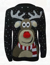 NEW LADIES POM POM REINDEER KNITTED XMAS CHRISTMAS JUMPER SWEATER (UK S/M, M/L)
