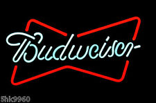 RARE Budweiser Bud Light REAL GLASS NEON BEER BAR PUB LIGHT SIGN FREE SHIPPING
