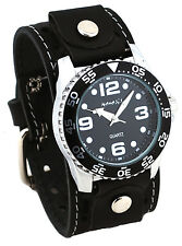 Nemesis STH097K Men's Amazing Groove Black Dial Wide Leather Cuff Band Watch