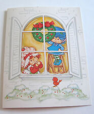 Unused Vtg Christmas Card Strawberry Shortcake and Blueberry Muffin Decorating