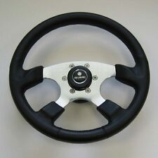 New OEM Gussi Boat Steering Wheel Polished Spokes & All Black Urethane Rim