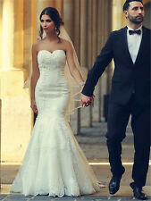 New Strapless Mermaid Trumpet Lace Up White Ivory Wedding Dress Bridal Ball Gown