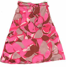 M&S Fuscia cerise Pink and grey bold floral print lightweight midi skirt 8 10 sm