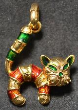 #3727 - 18k Gold & Enameled Cat Pendant