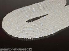 """Z-0021 Natural Rainbow Moonstone Gemstone Rondelle Faceted Beads 13"""" 1 Strand $"""