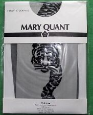 Vintage c 1970 Mary Quant Black Sheer Shiny Stockings with Black Tiger Motiff