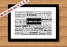 Pink floyd band song music record lyrique poster print A4 cadeau word art typographie