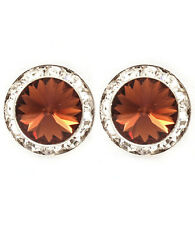 Fashion Brown Crystal Round Stud Earrings Made With Crystal Swarovski Elements