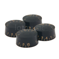 4 Pcs Black ABS Top Hat Guitar Speed Bell Knob Volume Tone Control Knob 6mm