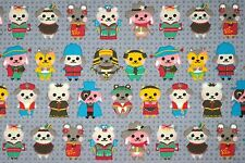 ~ [FQ] Cute Multi Costume Cadet Gray Puppy Dog 100% Cotton Fabric ~Free Shipping