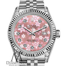 Woman's Rolex 26mm Datejust Glossy Pink Flower Dial with Diamond Accent Watch
