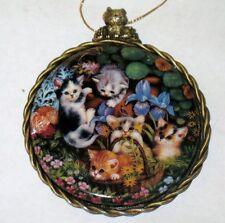 """Kitten Cats Expeditions Ornament """" IN THE FLOWER BED """" 1997 Bradford Exchange"""