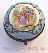 Antique Limoges Style Romantic Couple With Swan Round Hinged China Trinket Box