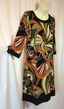 Dress Barn Sheath Mod Pop Art Brown 3/4 sleeve Shift sz 8 nice! NWT 70s Retro vc