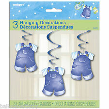 3 Blue Boy's CUTE CLOTHESLINE Baby Shower Party Hanging Cutouts Swirls