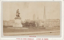 Photo carte de visite : Rouen ; Statue de Pierre Corneille , Pont de Pierre