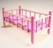 NEW LARGE WOODEN CRADLE COT,BED,CRIB DOLLS TOY