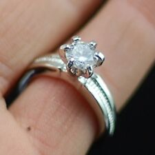 silver tone round diamond cut style crystal ring UK size O