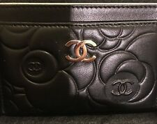 Chanel Brand New Black Camellia Card Holder Wallet