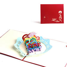 3D Pop Up I Love Mom Greeting Cards Christmas Birthday Mother's Day Gift