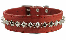 "Thick Genuine Leather Spiked Studded Dog Collar Sized Fit 18""-22"" Neck 2"" wide"