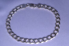 MEN'S STERLING SILVER BEVELED CURB LINK BRACELET FROM ITALY - 9 INCHES LONG