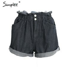 Simplee High Waist Ruffles Denim Shorts Summer Beach Pockets Jeans Shorts
