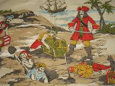VTG NOVELTY PIRATE COTTON DECOR FABRIC Captain Kidd SAILING SHIP Treasure Map 5Y