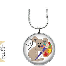 Mouse with Paint Necklace - School Gift - Gifts for Her - Jewelry