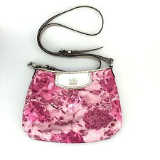 Coach Madison Maggie Pink Floral Pink Silver Handbag Purse Crossbody Small