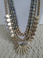 NWT Auth Lucky Brand Semi Precious Spike Charm 5 Row Layered Chain Necklace $69