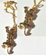 pendentif bijou rétro style vintage panthère cristaux citrine couleur or * 5242