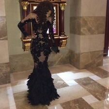 Black Appliques ASYM Long Mermaid Pageant Prom Dress Formal Evening Party Dress