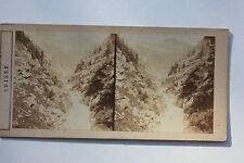 Suisse ? Gouffre dans la vallée du Rhône Photo stéréo Papier Vintage vers 1870