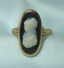 Test 14K Gold & Agate Cameo Ring     2.0 grams total     size 5 1/4