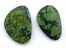 159.30 Carat Two Green Turquoise Spiderweb Cabochon Cab Gemstone Gem Stone T3A37