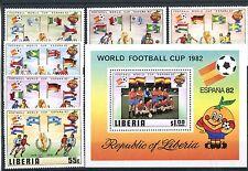 Briefmarken Liberia 1981 Fußball WM Spanien Nr : 1187 - 1192 + Block 96** BR699