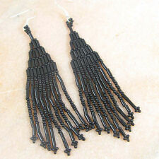 BLACK GLASS BEADED  EARRINGS HANDMADE
