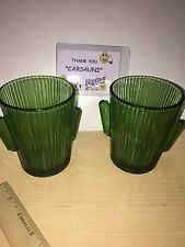 Libbey Glass 2 Green Cactus 10 oz Double Old Fashion Tumblers Barware ~FAST SHIP