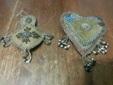 Antique Iroquois huron Indian BEADED FOLK ART Whimsey HEART PIN CUSHION