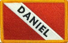 SCUBA DIVER Flag IRON ON Patch Personalized Add Name Shoulder Gold Emblem #092