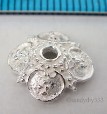 2x BRIGHT STERLING SILVER SQUARE FLOWER BEAD CAP 9.8mm #1781