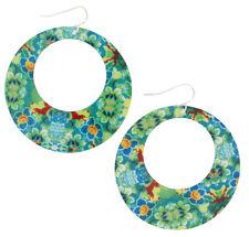 Pierced Earrings Dangle Hoop Mod Enamel Flower Floral Print Green Blue