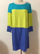 MAEVE Anthropology Tunic Dress Teal, Chartreuse & Blue Color-Block Size 2