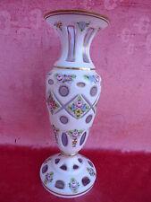 noble vasija de cristal pulido esmalte de Bohemia __30cm