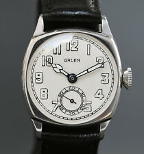 RARE! 20s Antique GRUEN Guild 885 CUSHION ART DECO SWISS WATCH MEN 14K GF