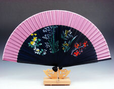 Bamboo Folding Hand Fan Flowers Bamboo Party Wedding Favor FREE STAND #07271602