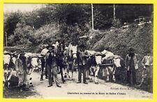 cpa 90 Route du BALLON d'ALSACE ATTELAGES de BOEUFS et CHEVAUX CHARRETIERS TBE