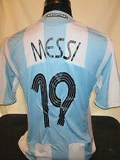 MESSI # 19 ARGENTINA 2008-2009 HOME FOOTBALL SHIRT ADULTO di grandi dimensioni (31931)